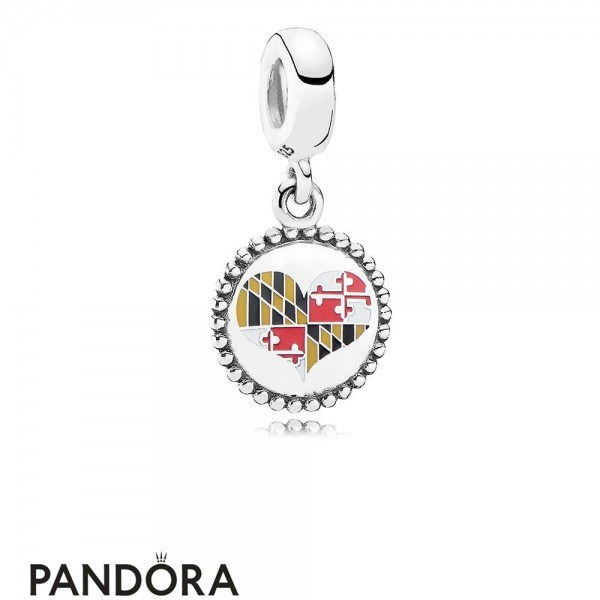 Jewelry Pandora Maryland Flag Heart Dangle Charm Mixed Enamel