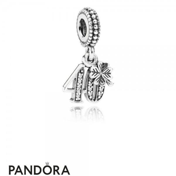 Pandora Pendant Charms 40 Years Of Love Pendant Charm Clear Cz