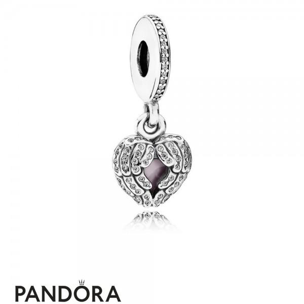 Pandora Pendant Charms Angel Wings Pendant Charm Clear Cz Pink Enamel
