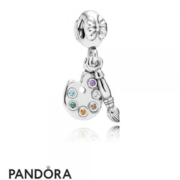 Pandora Pendant Charms Artist's Palette Pendant Charm Multi Colored Cz