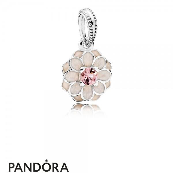 Pandora Pendant Charms Blooming Dahlia Pendant Charm Cream Enamel Blush Pink Crystal