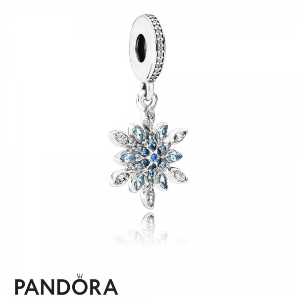 Pandora Pendant Charms Crystalized Snowflake Pendant Charm Blue Crystals Clear Cz