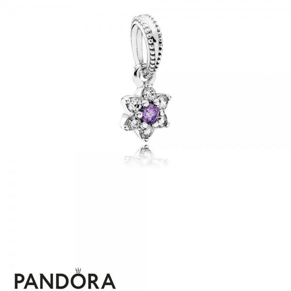 Pandora Pendant Charms Forget Me Not Pendant Charm Purple Clear Cz