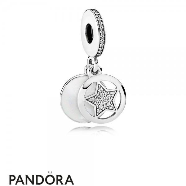 Pandora Pendant Charms Friendship Star Pendant Charm Silver Enamel Clear Cz