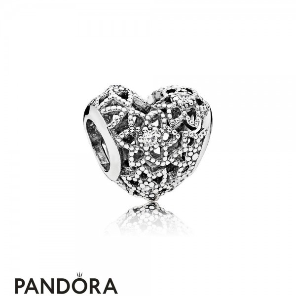 Pandora Sparkling Paves Charms Blooming Heart Charm Clear Cz