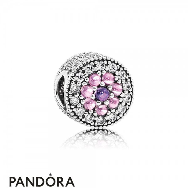 Pandora Sparkling Paves Charms Dazzling Floral Charm Multi Colored Cz