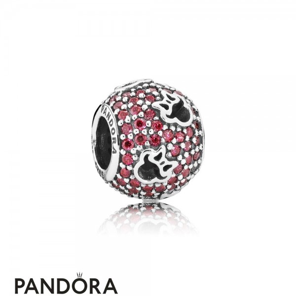 Pandora Sparkling Paves Charms Disney Minnie Silhouettes Charm Red Cz
