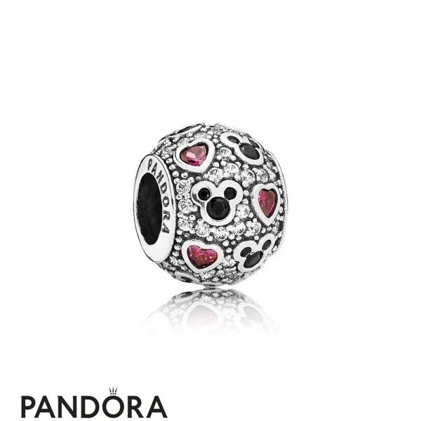 Pandora Sparkling Paves Charms Disney Sparkling Mickey Hearts Charm Clear Cz