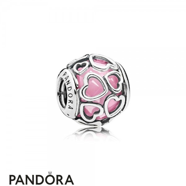 Pandora Sparkling Paves Charms Encased In Love Charm Pink Cz