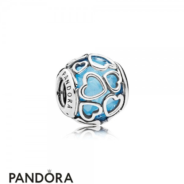 Pandora Sparkling Paves Charms Encased In Love Charm Sky Blue Crystal