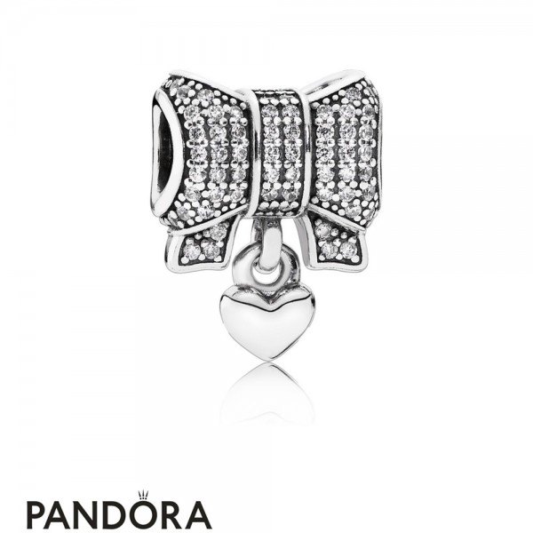 Pandora Sparkling Paves Charms Heart Bow Charm Clear Cz