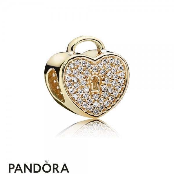 Pandora Sparkling Paves Charms Heart Lock Charm Clear Cz 14K Gold