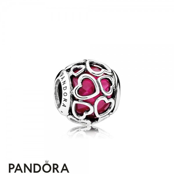 Pandora Symbols Of Love Charms Cerise Encased In Love Charm Cerise Crystal