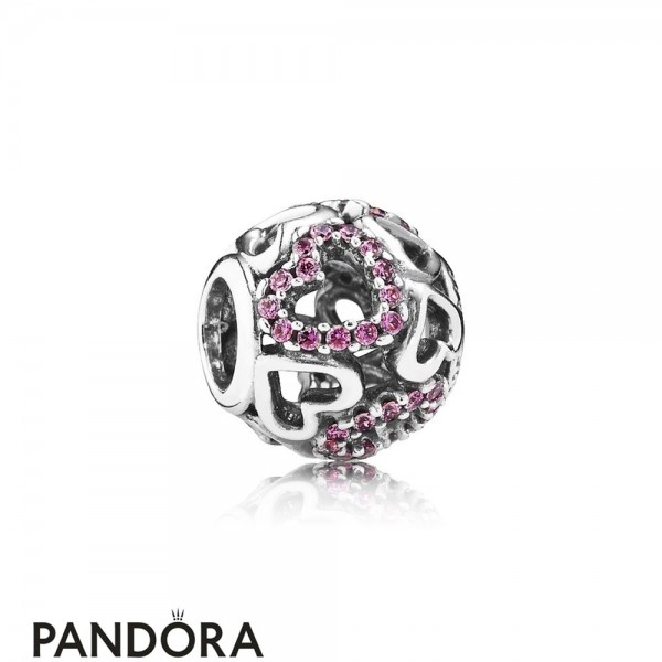 Pandora Symbols Of Love Charms Falling In Love Charm Fancy Pink Cz