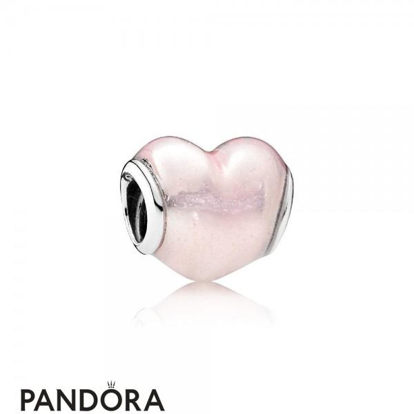 Pandora Symbols Of Love Charms Glittering Heart Charm Soft Pink Enamel