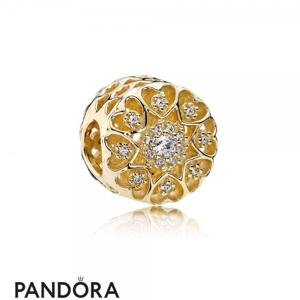 Pandora Symbols Of Love Charms Hearts Of Gold Charm Clear Cz 14K Gold