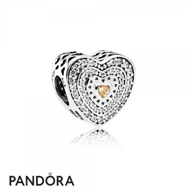 Pandora Symbols Of Love Charms Lavish Heart Charm Fancy Colored Clear Cz