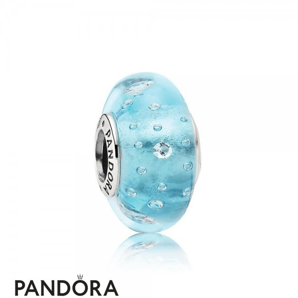 Pandora Touch Of Color Charms Blue Effervescence Charm Murano Glass Clear Cz