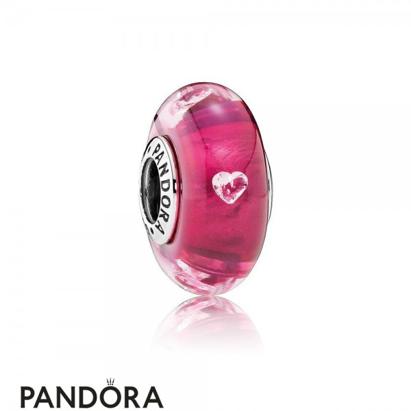 Pandora Touch Of Color Charms Cerise Heart Charm Murano Glass Clear Cz