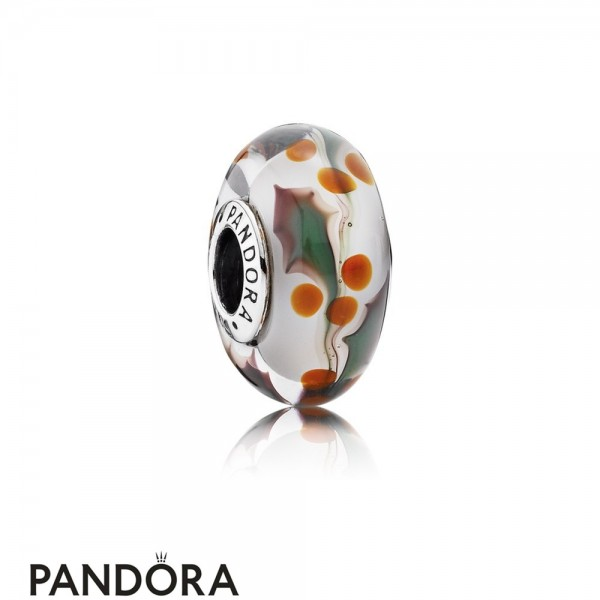 Pandora Touch Of Color Charms Christmas Holly Charm Murano Glass