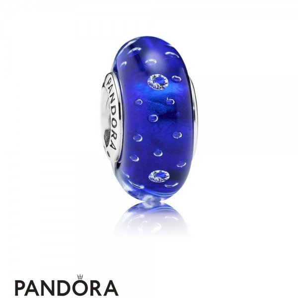 Pandora Touch Of Color Charms Dark Blue Effervescence Charm Murano Glass Clear Cz