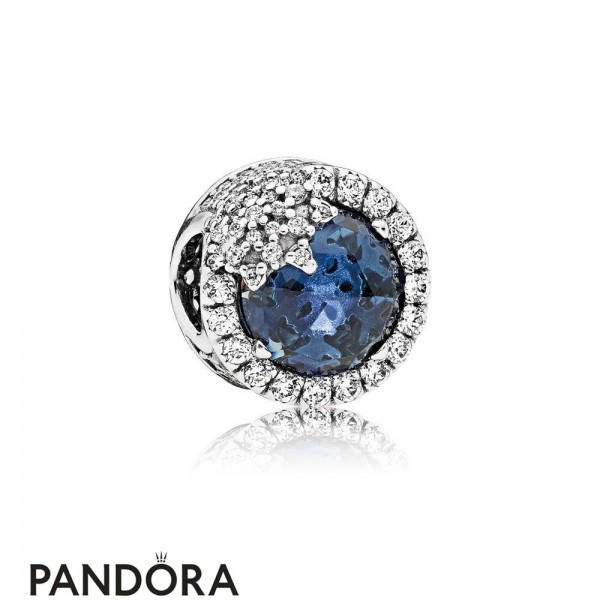 Pandora Touch Of Color Charms Dazzling Snowflake Charm Twilight Blue Crystals Clear Cz
