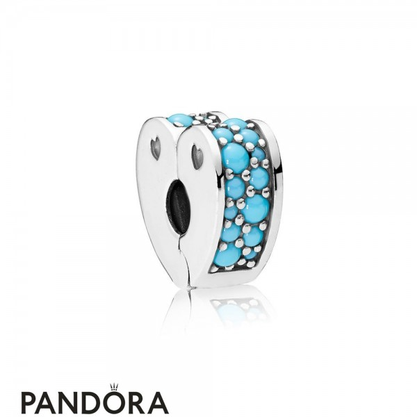 Women's Pandora Arcs Of Love Clip Cyan Blue Crystal