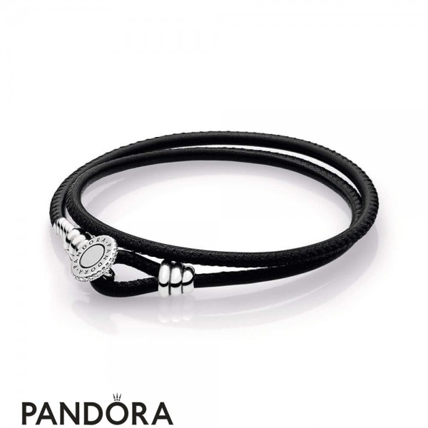 Women's Pandora Black Double Leather Bracelet