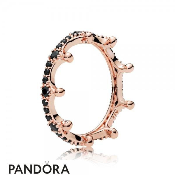 Pandora Rose Black Enchanted Crown Ring
