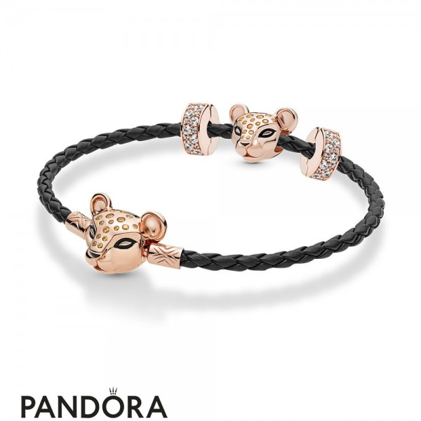 Pandora Rose Leather Lioness Bracelet Set