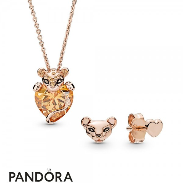 Pandora Rose Lioness Necklace And Earrings Gift Set