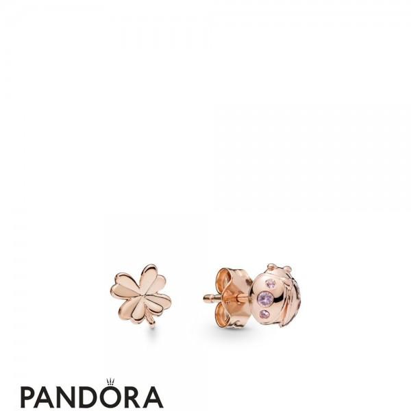 Pandora Rose Pandora Rose Four Leaf Clover And Ladybird Earring Studs