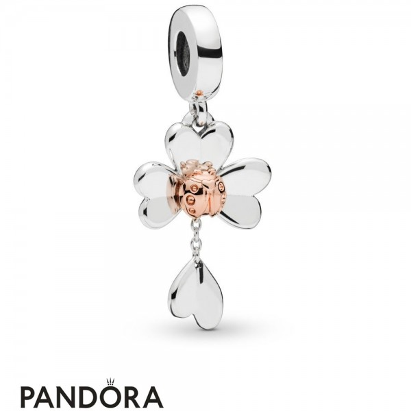 Pandora Rose With Sterling Silver Pandora Rose Clover & Ladybird Hanging Charm