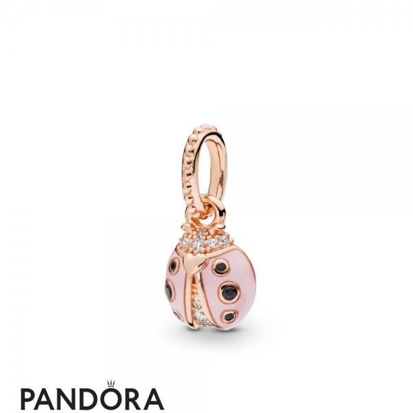 Pandora Rose Enamel Pandora Rose Lucky Pink Ladybird Necklace Pendant