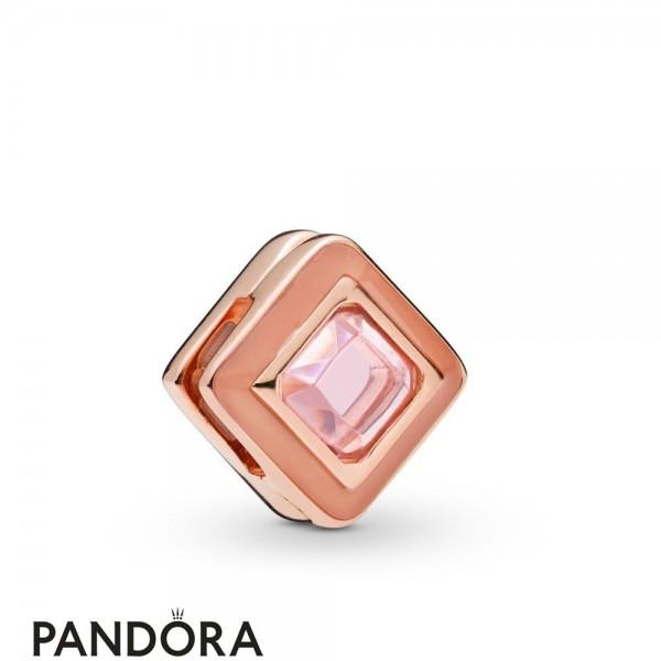 Pandora Rose Enamel Pandora Rose Reflexions Sparkling Pink Square Clip Charm