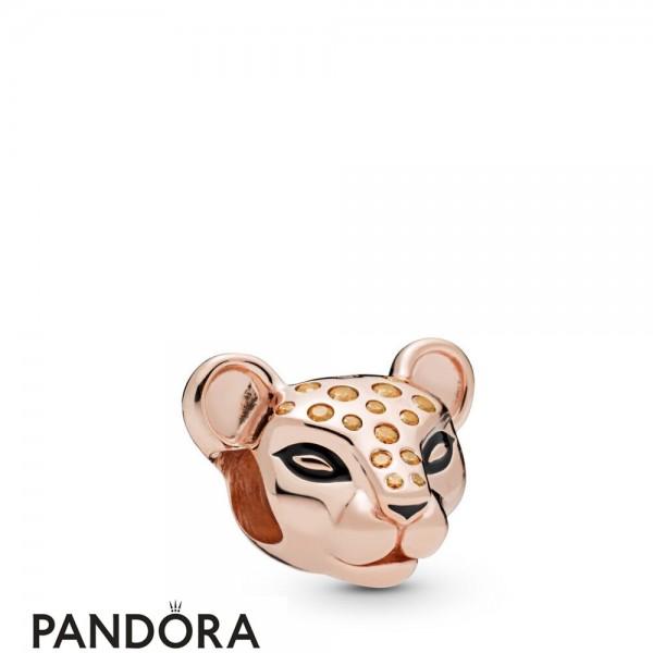 Pandora Rose Enamel Black Cubic Zirconia Sparkling Lion Princess Charm
