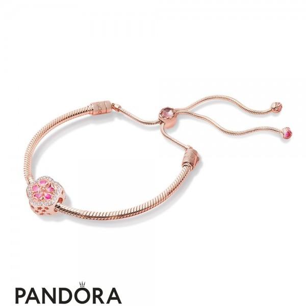 Pandora Rose Enamel Brown Pink Red White No Stone Lower Cluster Bracelet