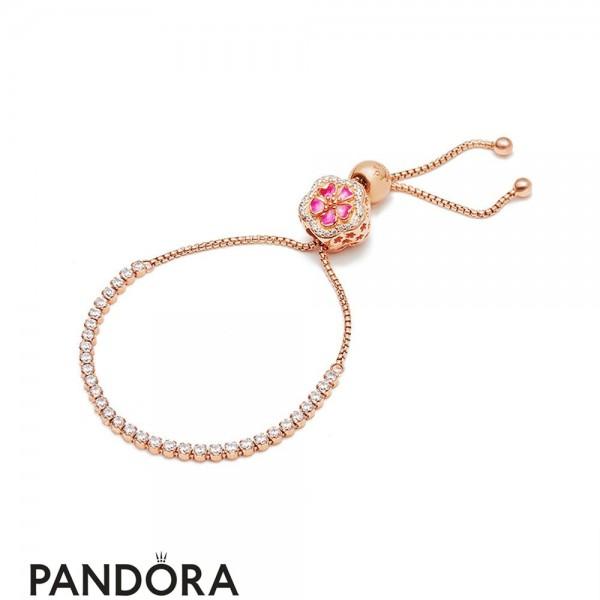 Pandora Rose Enamel Pink Mixed Stones Crystal Synthetic Sapphire Dazzling Peach Bracelet