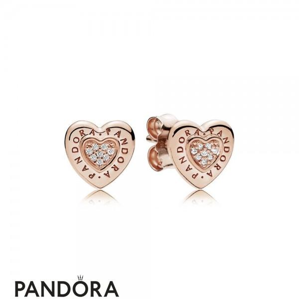 Pandora Signature Heart Stud Earrings Pandora Rose