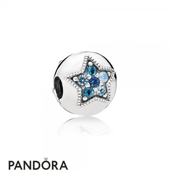 Pandora Winter Collection Bright Star Clip Multi Colored Crystals