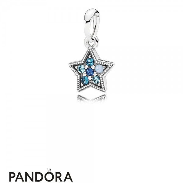 Pandora Winter Collection Bright Star Necklace Pendant Multi Colored Crystals