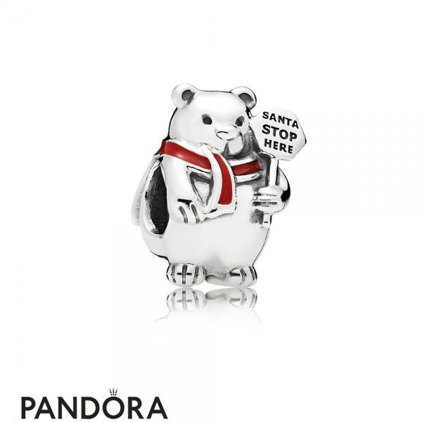Pandora Winter Collection Christmas Polar Bear Charm Berry Red Enamel