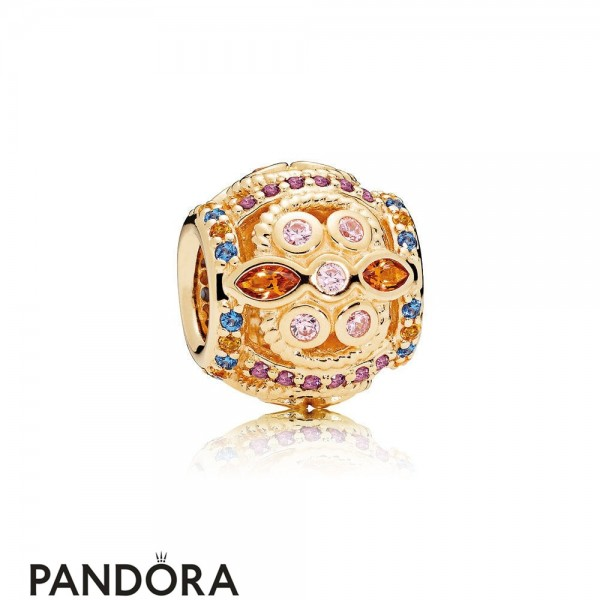 Pandora Winter Collection Color Fresco Charm 14K Gold Multi Colored Crystals Pink Cz