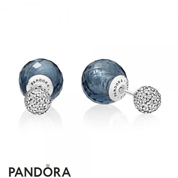 Pandora Earrings Shimmering Drops Midnight Blue Crystals