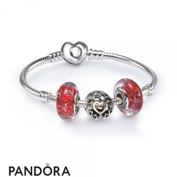 Women's Pandora Loving Circle Openwork Charm Bracelet Set